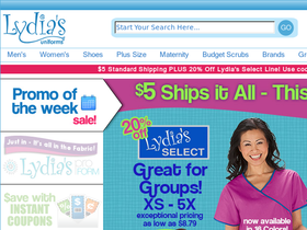 Hey, I used to buy my scrubs from Lydia online. I like that there is great choice and sometimes there is free shipping too. But overall it is a little expensive. I wanted to ask if there are coupons or sales, online promotions or something like that at ANY of the online shops, like Lydia. Like.